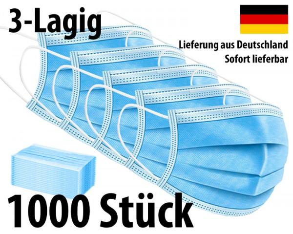 Maske 3-lagig Mundschutz Mund-Nasen-Schutz - 1000 Stück